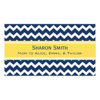 Yellow Blue Chevron Retro Mom Calling Cards