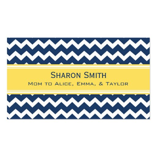 Yellow Blue Chevron Retro Mom Calling Cards Business Card Templates