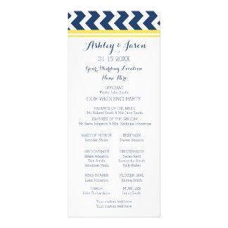 Yellow Blue Chevron Wedding Program Full Color Rack Card