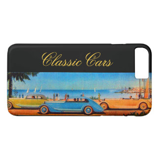 YELLOW BLUE CLASSIC / VINTAGE CARS IN SUMMER BEACH iPhone 7 PLUS CASE