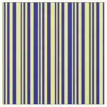 [ Thumbnail: Yellow & Blue Colored Pattern of Stripes Fabric ]