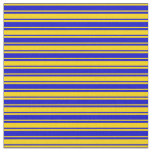[ Thumbnail: Yellow & Blue Colored Stripes Fabric ]