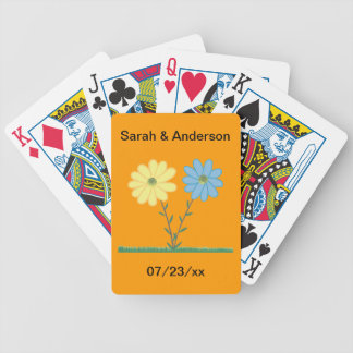 Yellow & Blue Daisy Flowers Bridal Playing Cards Bicycle Playing Cards