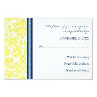 Yellow Blue Damask RSVP Wedding Card