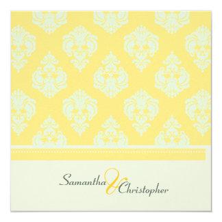 Yellow Blue Damask/wedding invitations/felt stock Card