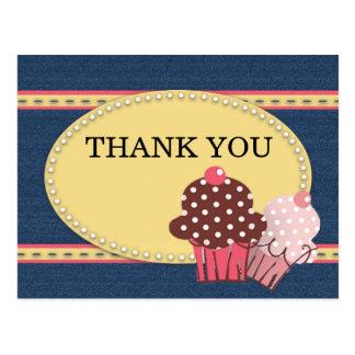 Yellow Blue Denim Pink Cupcakes Birthday Thank You Postcard
