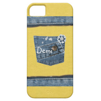 Yellow Blue Denim Print iPhone 5 Cover