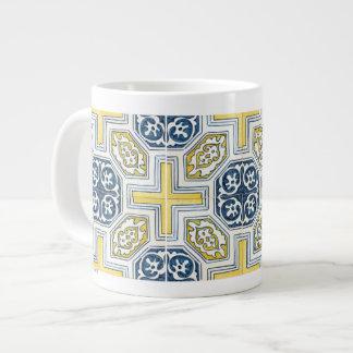 Yellow Blue Faux Geometric Tile Art 20 Oz Large Ceramic Coffee Mug