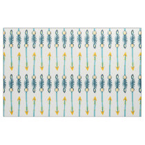 Yellow Blue feather Arrow Native Boho Chic Pattern Fabric