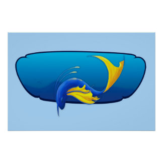 Yellow Blue Fish Thing Poster