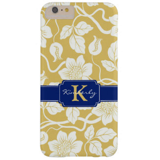 Yellow & blue floral name / initial barely there iPhone 6 plus case