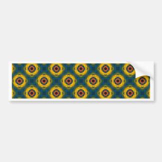 Yellow Blue Floral Pattern Car Bumper Sticker