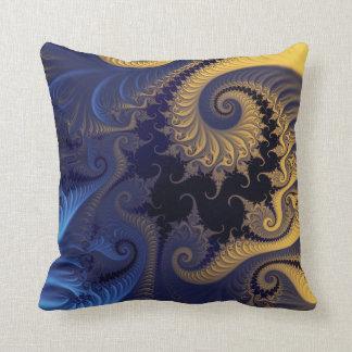 Yellow blue fractal pattern throw pillow