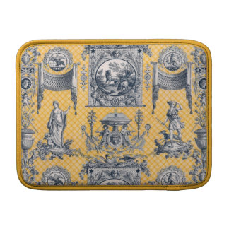 Yellow & Blue French Antique Neoclassical Toile Sleeve For MacBook Air
