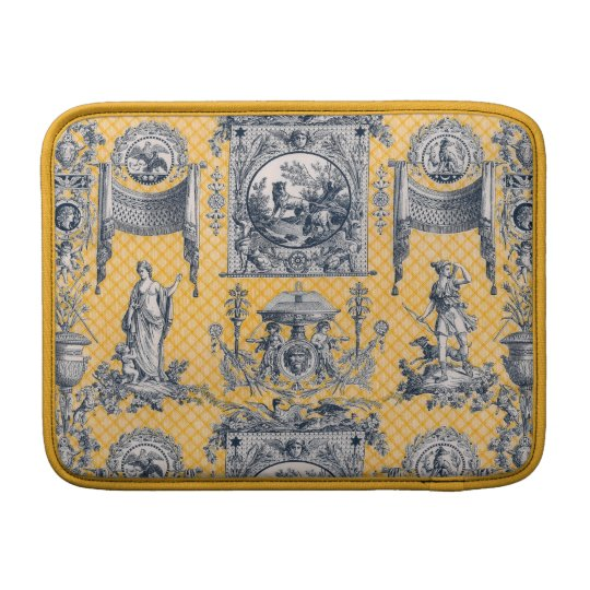 Yellow & Blue French Antique Neoclassical Toile MacBook Sleeve