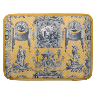 Yellow & Blue French Neoclassical Toile Sleeves For MacBooks