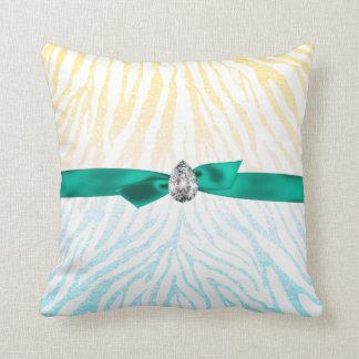 Yellow Blue Glitter Zebra Pattern Ribbon Diamond Throw Pillow