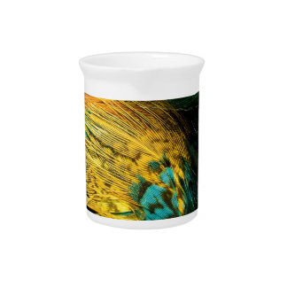 Yellow Blue Green Bird Feather Background Beverage Pitcher