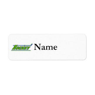 Yellow blue Green Hockey Logo Return Address Label