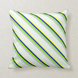 [ Thumbnail: Yellow, Blue, Green, Light Grey, and Mint Cream Throw Pillow ]