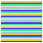 [ Thumbnail: Yellow, Blue, Green, White, and Sky Blue Pattern Fabric ]