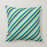 [ Thumbnail: Yellow, Blue, Green, White, and Sky Blue Pattern Throw Pillow ]