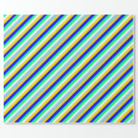 [ Thumbnail: Yellow, Blue, Green, White, and Sky Blue Pattern Wrapping Paper ]