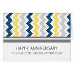 Yellow Blue Grey Chevron Employee Anniversary Card