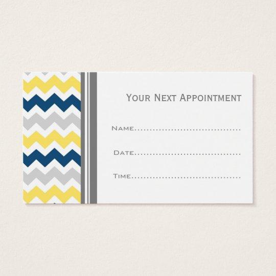 Yellow Blue Grey Chevron Salon Appointment Cards