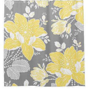 Yellow grey flowers shower curtains zazzle yellow blue grey flowers pattern shower curtain mightylinksfo