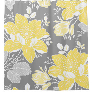 grey and aqua shower curtain. Yellow Blue Grey Flowers Pattern Shower Curtain Curtains  Zazzle