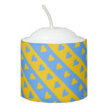[ Thumbnail: Yellow/Blue Hearts and Stripes Pattern Candle ]