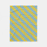 [ Thumbnail: Yellow/Blue Hearts and Stripes Pattern Fleece Blanket ]