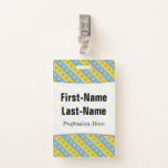 [ Thumbnail: Yellow/Blue Hearts and Stripes Pattern; Name Badge ]