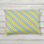 [ Thumbnail: Yellow/Blue Hearts and Stripes Pattern Pillow ]