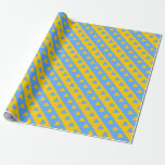 [ Thumbnail: Yellow/Blue Hearts and Stripes Pattern Wrapping Paper ]