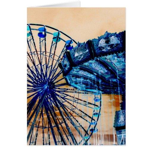 Yellow blue invert ferris wheel swings fair rides card