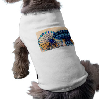 Yellow blue invert ferris wheel swings fair rides doggie shirt