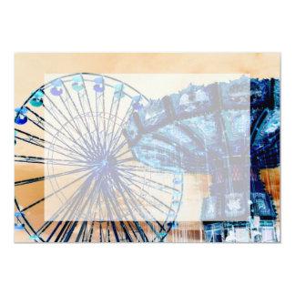 Yellow blue invert ferris wheel swings fair rides personalized invitation