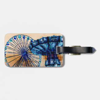Yellow blue invert ferris wheel swings fair rides bag tags