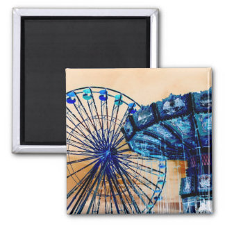 Yellow blue invert ferris wheel swings fair rides magnet