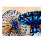 Yellow blue invert ferris wheel swings fair rides post card