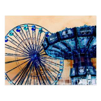 Yellow blue invert ferris wheel swings fair rides postcard