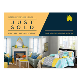 Yellow blue Just sold real estate advert template Postcard