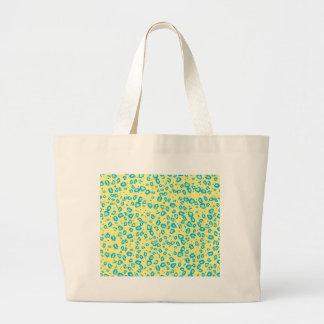 yellow blue lime cheetah tote bags