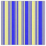 [ Thumbnail: Yellow & Blue Lines Pattern Fabric ]