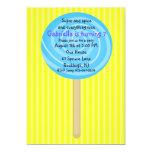Yellow & Blue Lollipop Girls Birthday Invitation