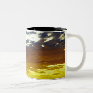 Yellow Blue Moody Sunset with Clouds Two-Tone Coffee Mug