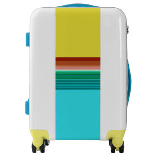 Yellow Blue Multicolor Striped Pattern Luggage