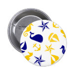 Yellow Blue Nautical Scatter 2 Inch Round Button